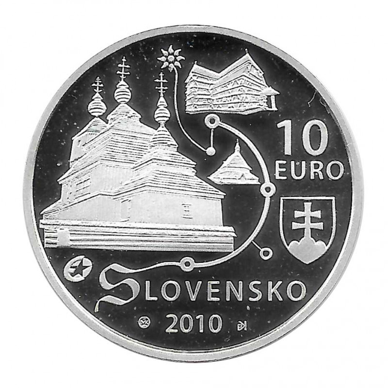 Silver Coin 10 Euro Slovakia Wooden Churches Year 2010 Proof | Collectibles - Alotcoins