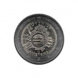 UNC Coin 2 Euro Slovenia 10 Years of Euro Cash Year 2012 | Numismatics Shop - Alotcoins