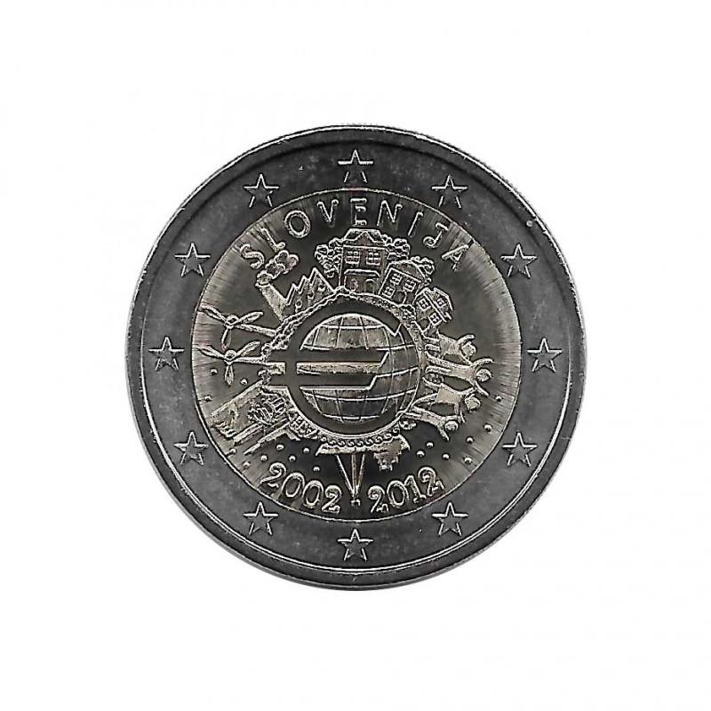 Euromünze 2 Euro Slowenien 10 Jahre Euro Cash Jahr 2012 UNZ Unzirkuliert | Sammlermünzen - Alotcoins