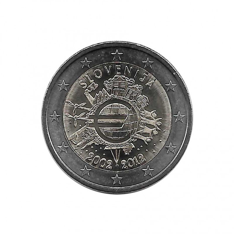 Moneda 2 Euros Conmemorativa Eslovenia 10 Años Efectivo Año 2012 SC sin circular | Monedas de colección - Alotcoins