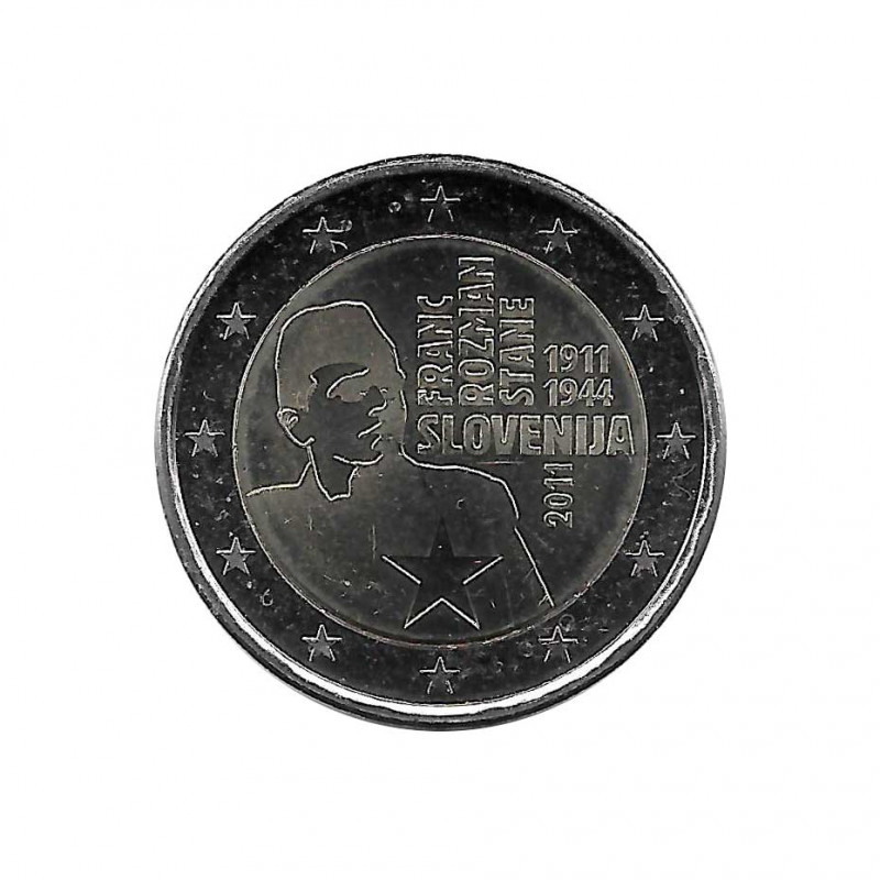 Moneda Conmemorativa 2 Euros Eslovenia Héroe Stane Año 2011 SC sin circular | Monedas de colección - Alotcoins