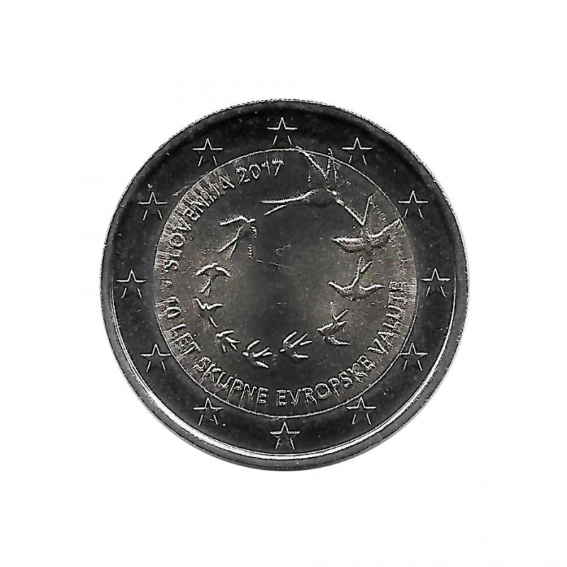 UNC Coin 2 Euro Slovenia 10th Anniversary of the Euro Year 2017 Uncirculated | Numismatics Shop - Alotcoins