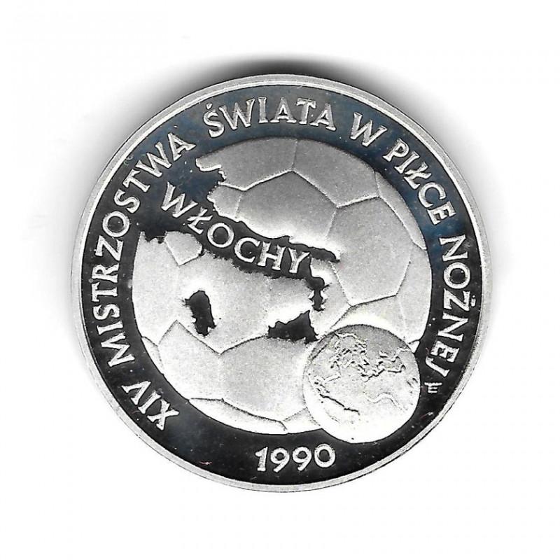 Moneda de Polonia Año 1989 200.000 Zlotys Plata Balón de Fútbol Proof PP
