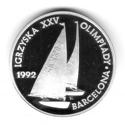 Moneda de Polonia Año 1991 200.000 Zlotys Velero Plata Proof PP