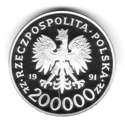 Münze Polen Jahr 1991 200.000 Złote Segelboot Silber Proof PP