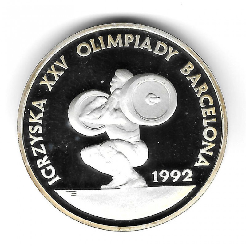 Coin Poland Year 1991 200,000 Zloty Silver Weightlifting Proof PP