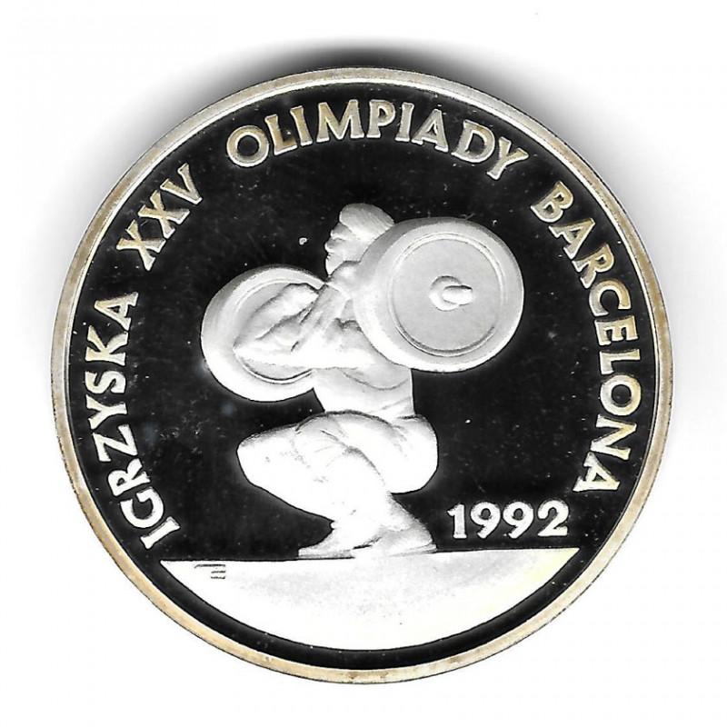 Moneda Polonia Año 1991 200.000 Zlotys Plata Levantamiento de pesas Proof PP