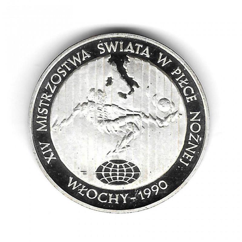 Moneda de Polonia Año 1989 200.000 Zlotys Plata Fútbol Proof PP