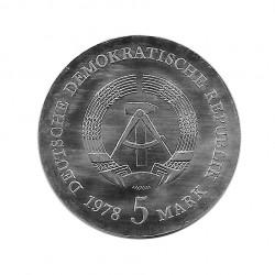 Moneda de plata 5 Marcos Alemania DDR Gottlieb Año 1978 Proof | Tienda Numismática - Alotcoins