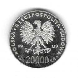 Münze Polen Jahr 1989 200.000 Złote Silber Fußball Proof PP