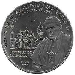 Moneda de cobre Cuba 1 Peso Papa Juan Pablo II La Habana Año 1998 Sin circular SC | Monedas de colección - Alotcoins