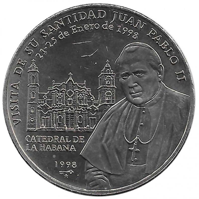 Gedenkmünze Kuba 1 Peso Papst Johannes Paul II La Habana Jahr 1998 Unzirkuliert UNZ | Sammlermünzen - Alotcoins
