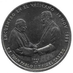 Moneda de cobre Cuba 1 Peso Papa Juan Pablo II Fidel Castro Año 1997 Sin circular SC | Monedas de colección - Alotcoins