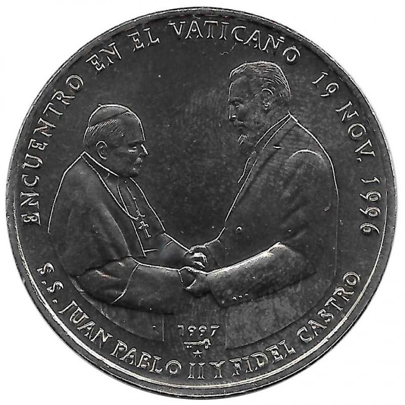 Gedenkmünze Kuba 1 Peso Papst Johannes Paul II Fidel Castro Jahr 1997 Unzirkuliert UNZ | Sammlermünzen - Alotcoins