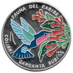 Moneda de plata Cuba 10 Pesos Colibrí Garganta Rubí Año 1996 Proof | Monedas de colección - Alotcoins
