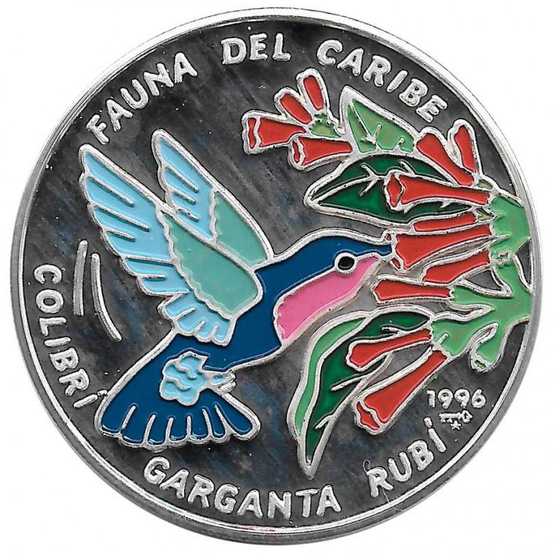 Moneda de plata Cuba 10 Pesos Colibrí Garganta Rubí Año 1996 Proof   Monedas de colección - Alotcoins