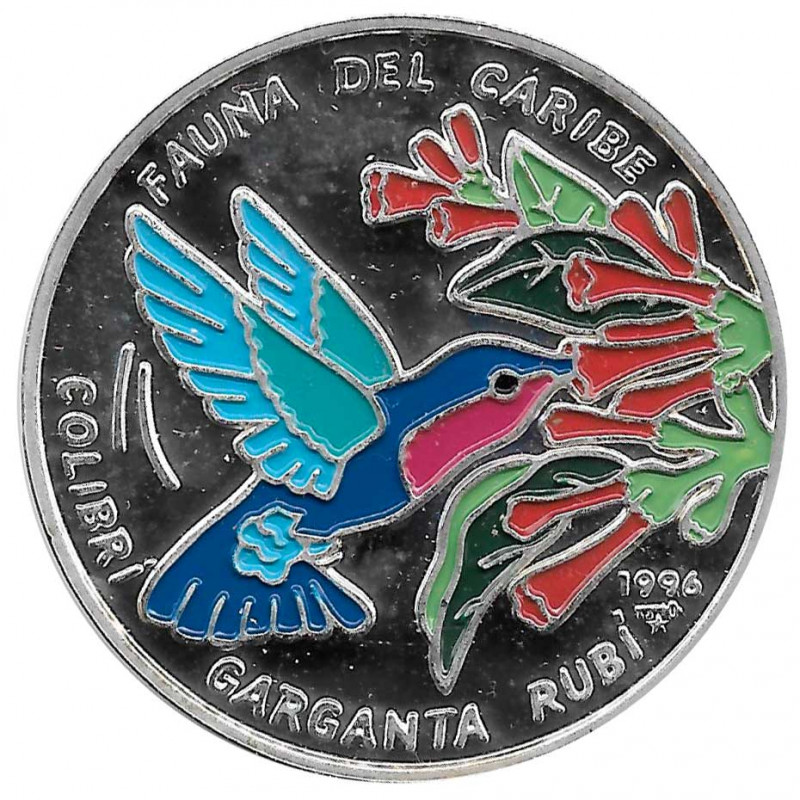 Moneda de plata Cuba 20 Pesos Colibrí Garganta Rubí Año 1996 Proof | Monedas de colección - Alotcoins