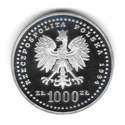 Moneda Polonia Año 1994 1.000 Zlotys Plata Fútbol FIFA Mundial Estados Unidos Proof PP