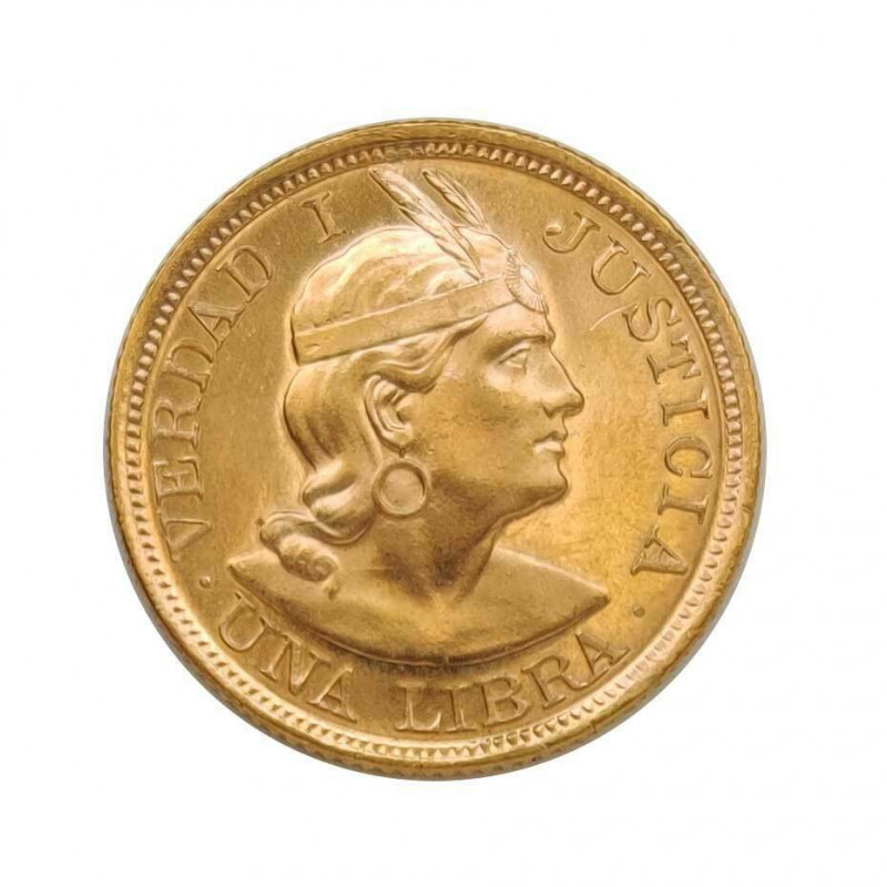 Gold Coin 1 Pound Peru Truth I Justice 7.99 g Year 1966   Collectible Coins - Alotcoins
