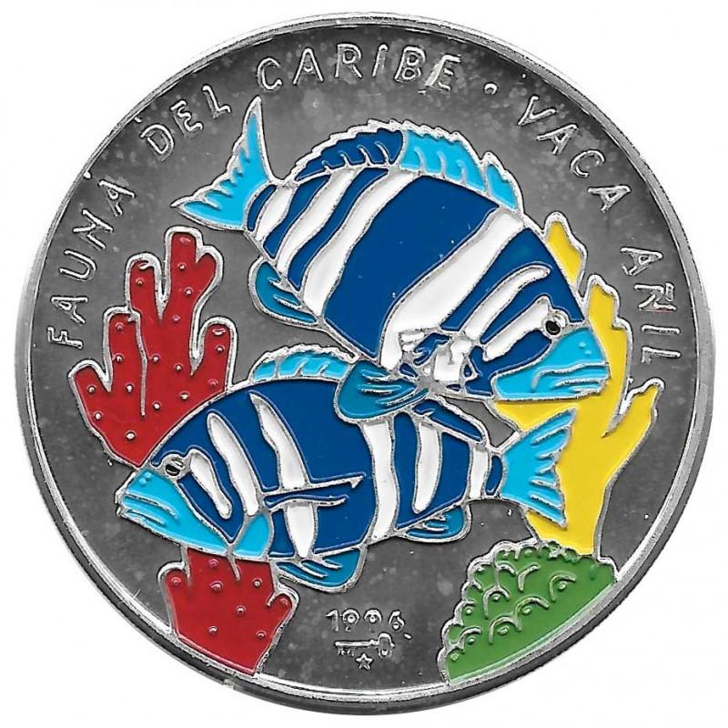 Moneda de plata Cuba 10 Pesos Pez Vaca Añil Año 1996 Proof | Monedas de colección - Alotcoins