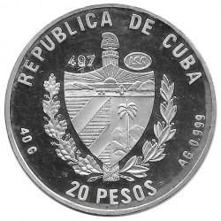 Moneda de plata Cuba 20 Pesos Pez Vaca Añil Año 1996 Proof | Monedas de colección - Alotcoins