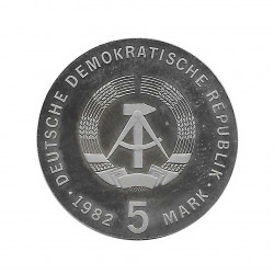 Coin 5 German Marks GDR Friedrich Froebel Year 1982 Proof | Numismatic Store - Alotcoins