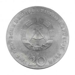 Silver Coin 20 Mark Democratic Germany Johann Sebastian Bach Year 1975   Collectible Coins - Alotcoins