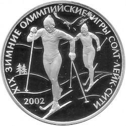 Moneda Plata 3 Rublos Rusia Juegos Olímpicos Esquí de Fondo Año 2002 Proof | Monedas de colección - Alotcoins