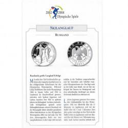 Silbermünze 3 Rubel Russland Olympischen Winterspiele Skilanglauf Jahr 2002 Polierte Platte PP | Silbermünzen - Alotcoins