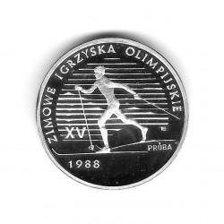 Coin Poland Year 1987 1,000 Zloty Silver Ski Cross Proof PP