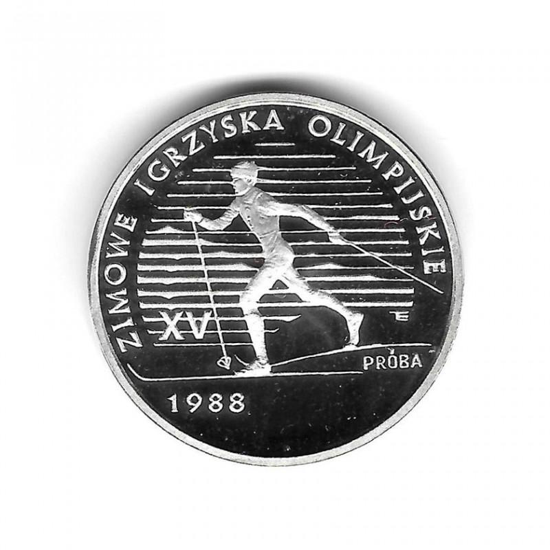 Moneda Polonia Año 1987 1.000 Zlotys Plata Carrera de Esqui Proof PP