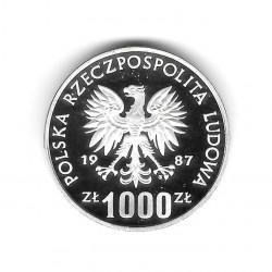Münze Polen Jahr 1987 1.000 Złote Silber Ski-Kreuz Proof PP
