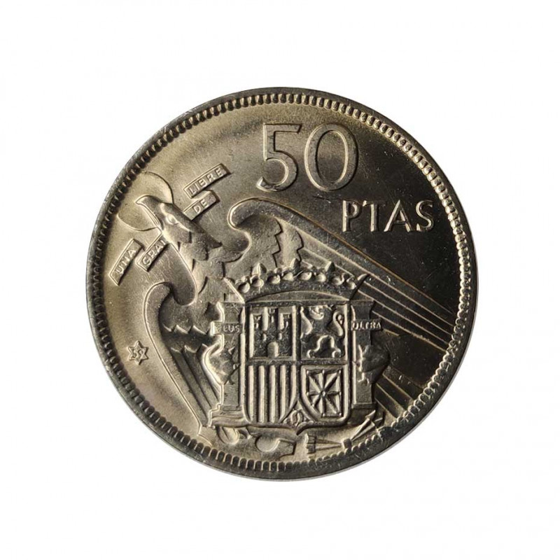 Coin 50 Pesetas Spain General Franco Year 1957 Star 59 Uncirculated UNC | Collectible coins - Alotcoins