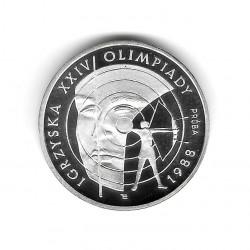 Münze Polen Jahr 1987 1.000 Złote Silber Olympische Spiele Bogenschießen Proof PP