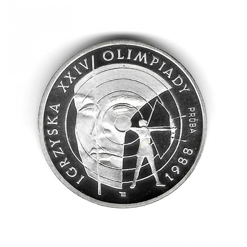 Moneda Polonia Año 1987 1.000 Zlotys Plata Juegos Olímpicos Tiro con Arco Proof PP