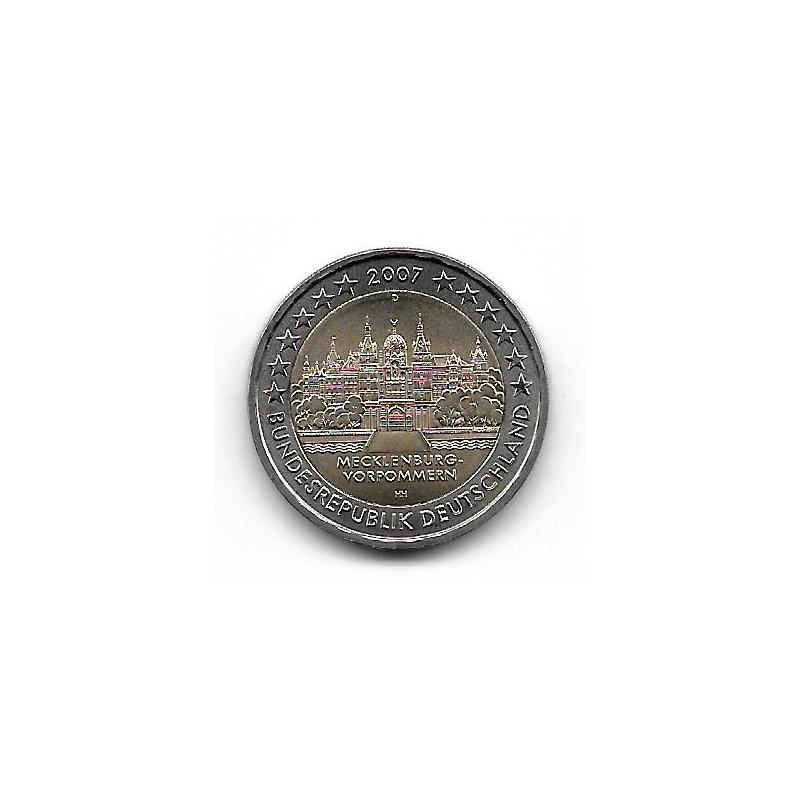 """Moneda 2 Euros Alemania Mecklenburg """"D"""" Año 2007"""
