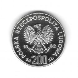 Silbermünze 200 Złote Polen Fußballtorhüter Richtig Jahr 1982 Polierte Platte PP | Numismatik Shop - Alotcoins