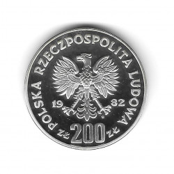 Silver Coin 200 Zloty Poland Soccer Goalkeeper Right Year 1982 Proof | Numismatics Store - Alotcoins