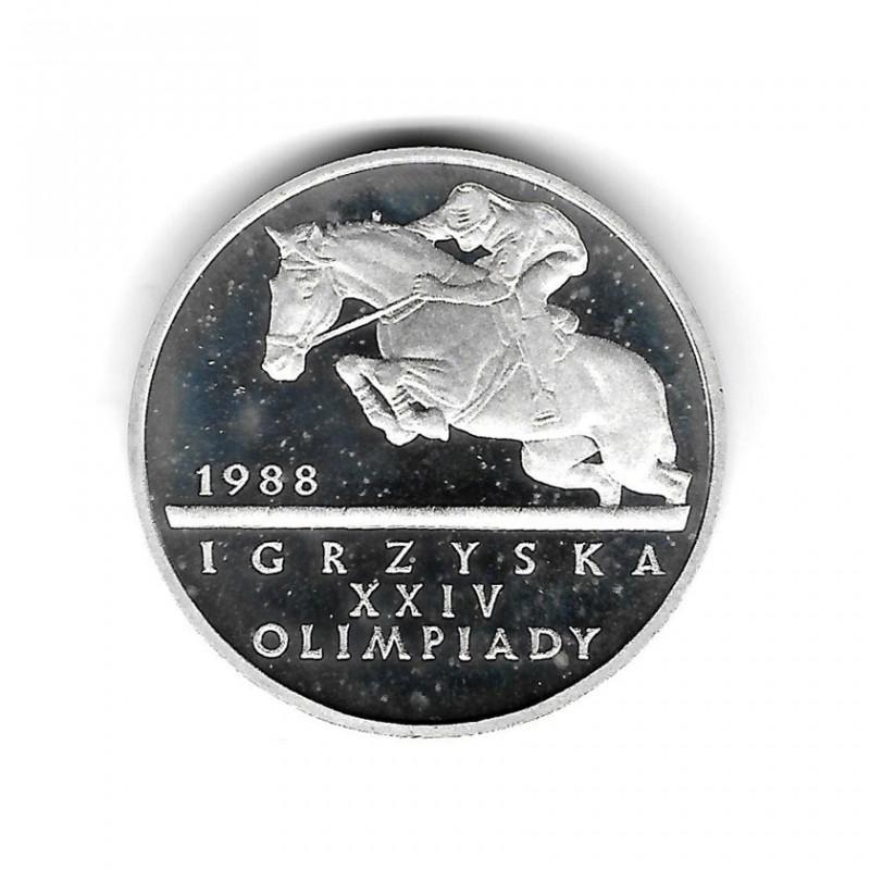 Moneda de Polonia Año 1987 500 Zlotys Juegos Olímpicos - Ecuestre Plata Proof PP