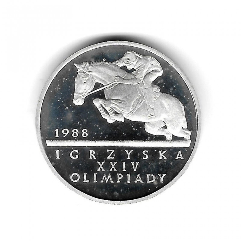 Münze Polen Jahr 1987 500 Złote Olympische Spiele - Reitsport Silber Proof PP