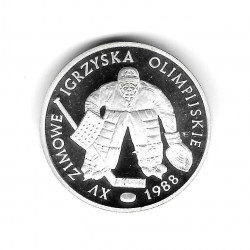 Coin Poland Year 1987 500 Zloty Soccer Olympic Games - Hockey Goalkeeper Silver Proof PP