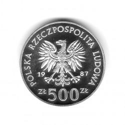 Moneda de Polonia Año 1987 500 Zlotys Juegos Olímpicos - Portero de hockey Plata Proof PP