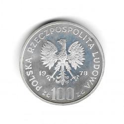 Moneda de Polonia Año 1978 100 Zlotys Castor Plata Proof PP