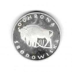Moneda de Polonia Año 1977 100 Zlotys Bisonte Plata Proof PP