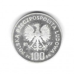 Coin Poland Year 1977 100 Zloty Bison Silver Proof PP