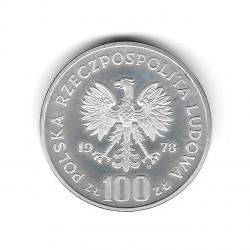 Moneda de Polonia Año 1978 100 Zlotys Alce Plata Proof PP