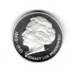 Moneda de Polonia Año 1975 100 Zlotys Paderewski Plata Proof PP