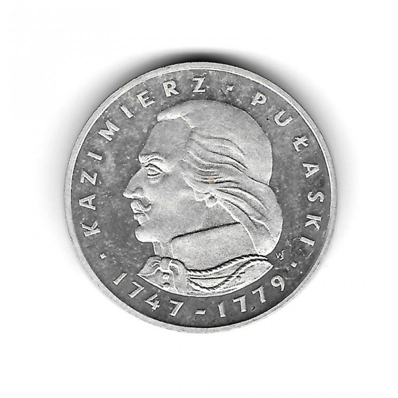 Moneda de Polonia Año 1976 100 Zlotys Kazimierz Pulaski Plata Proof PP