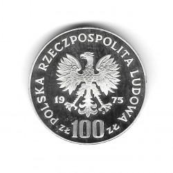 Moneda de Polonia Año 1975 100 Zlotys Helena Plata Proof PP
