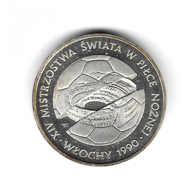 Moneda de Polonia Año 1988 500 Zlotys Fútbol Proof PP